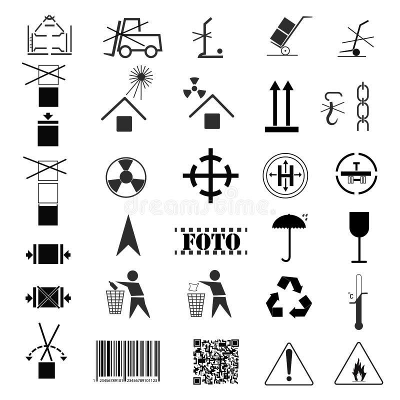 Чертеж вектора, изображение собрания пакуя символов Маркировка груза, маркировка перехода иллюстрация вектора