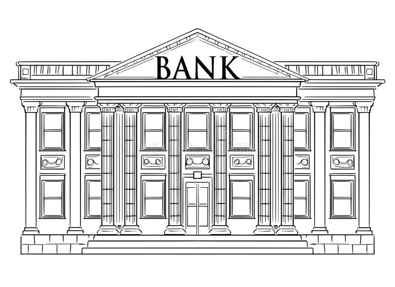 Чертеж вектора классического здания банка как символ финансов и вклад бесплатная иллюстрация