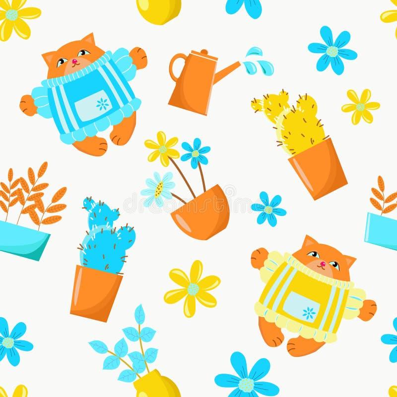 Чертеж вектора показывая баки цветков в саде и котах Установите для обоев дизайна, предпосылки, ткани, упаковывая, бумаги, бесплатная иллюстрация