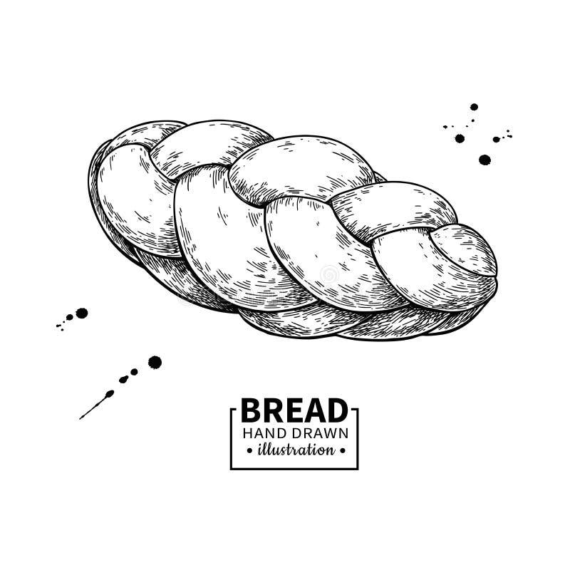 Чертеж вектора хлеба Эскиз продукта хлебопекарни Винтажная еда бесплатная иллюстрация
