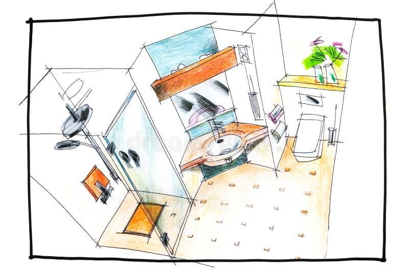 Чертеж взгляд сверху ванной комнаты стоковые фото
