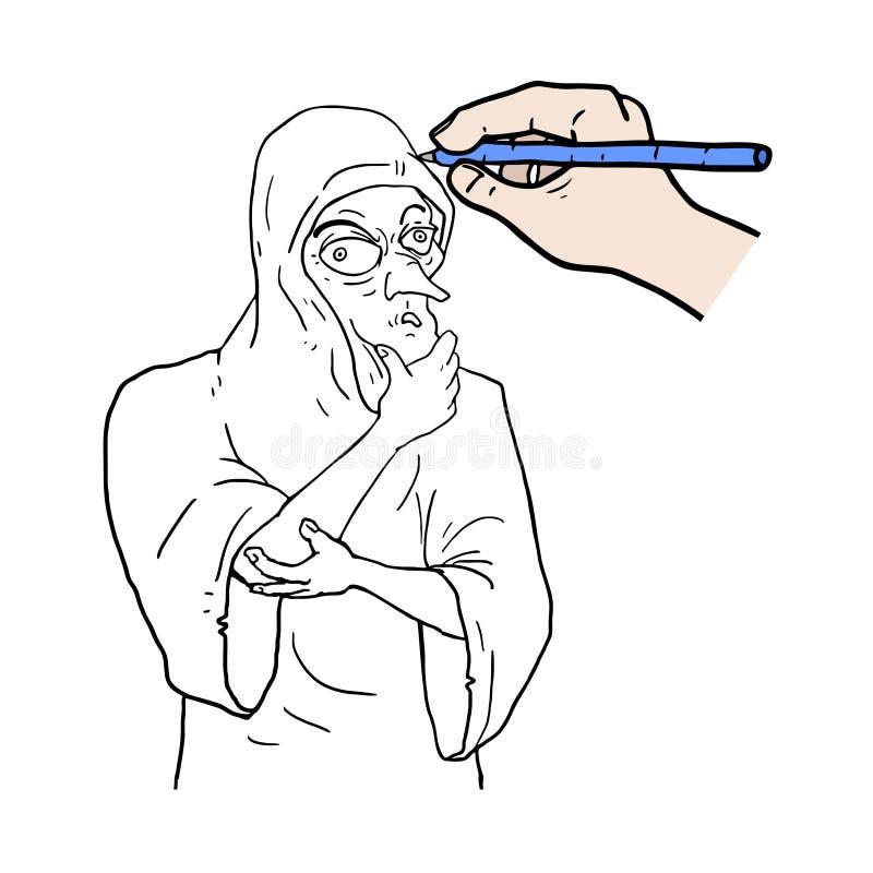 чертеж вручает ее нижнее белье утра вверх по теплым детенышам женщины иллюстрация штока