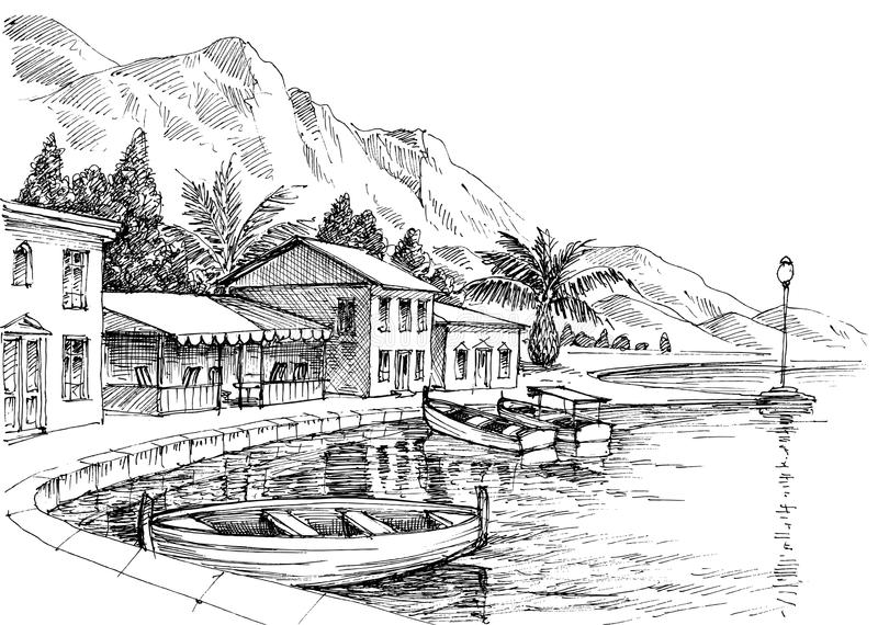 Чертеж гавани иллюстрация штока