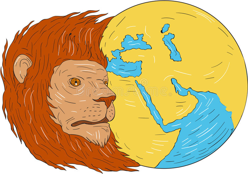 Чертеж глобуса карты Ближний Востока Азии льва головной иллюстрация штока