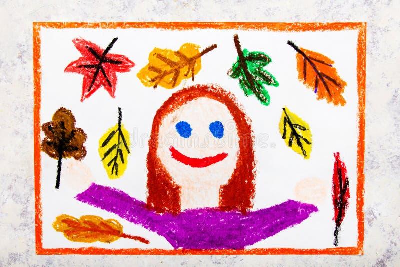 чертеж: девушка и красивые листья осени стоковые фотографии rf