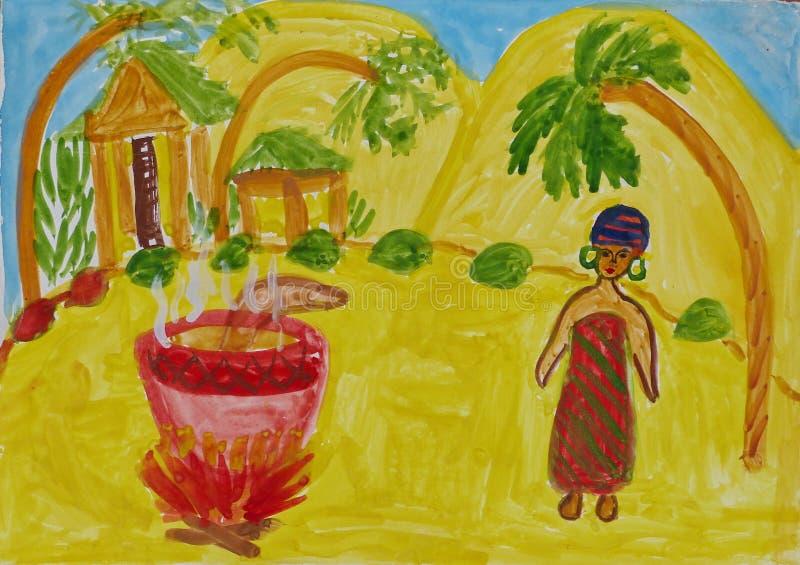 """Чертеж детей к фольклорным сказам Африки """"Девушка подготавливает обедающий """" Гуашь на бумаге Наивнонатуралистическое искусство аб иллюстрация вектора"""