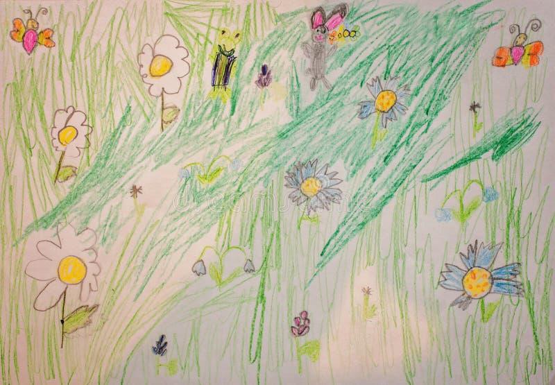 Чертеж детей с цветками и животными стоковые фотографии rf