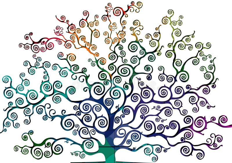 Чертеж дерева при писанная наспех листва иллюстрация штока