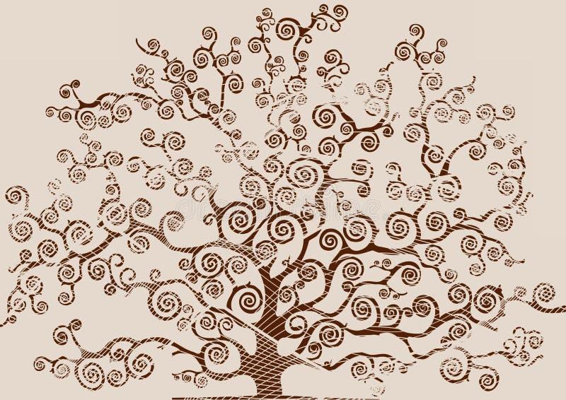 Чертеж дерева при писанная наспех листва иллюстрация вектора