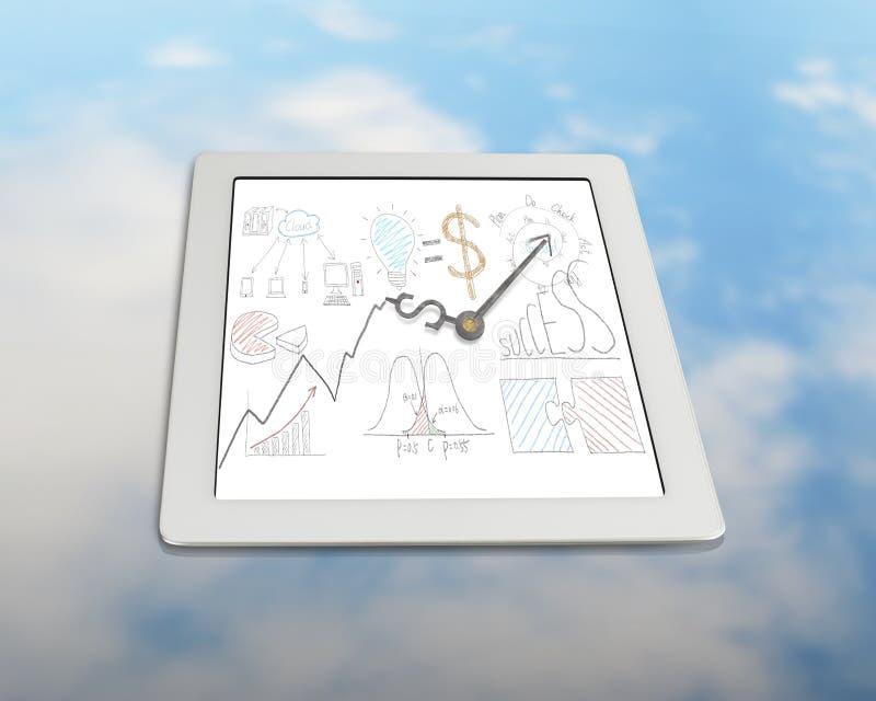 Чертеж дела с руками часов на таблетке иллюстрация вектора