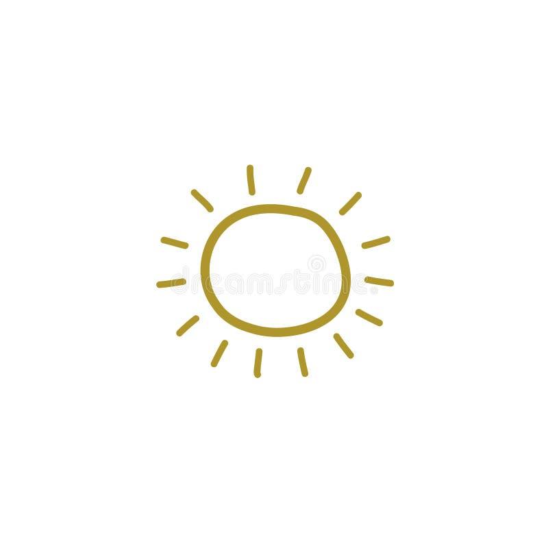Чертеж желтого солнца в стиле doodle Линейный нарисованный вручную чертеж r бесплатная иллюстрация