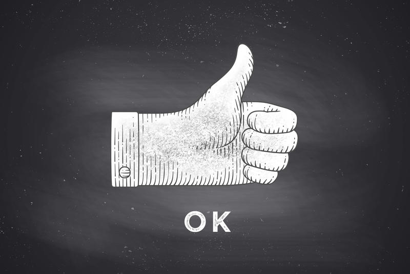 Чертеж знака руки thumbs вверх в стиле гравировки иллюстрация штока