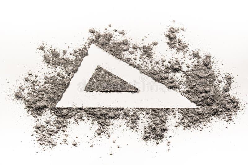 Чертеж знака формы треугольника в золе стоковая фотография rf