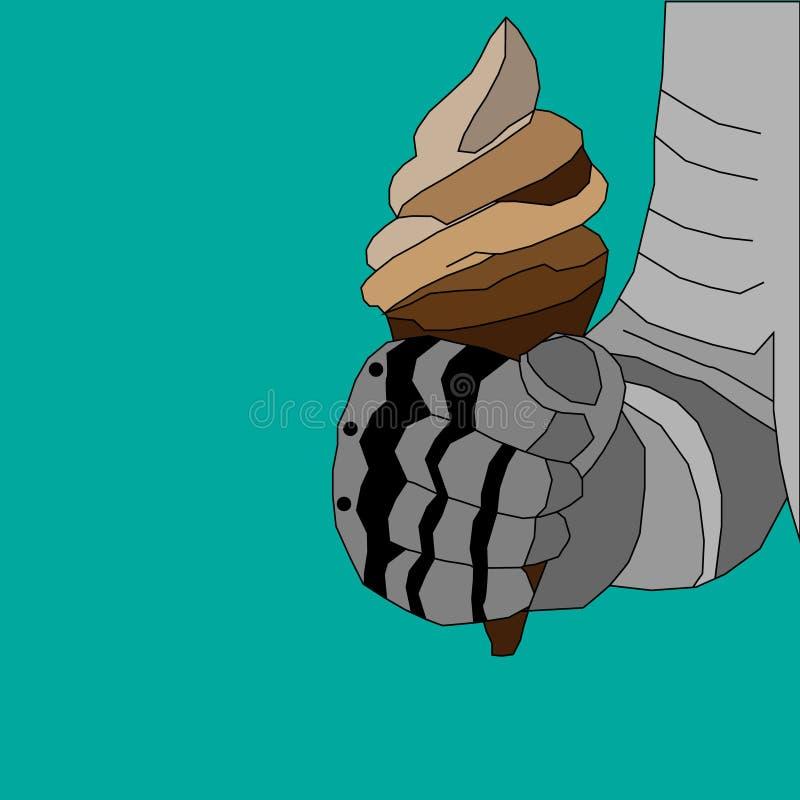 Чертеж иллюстрации вектора руки рыцаря в панцыре серых теней с мороженым в конусе вафли в кулаке на зеленом цвете иллюстрация штока