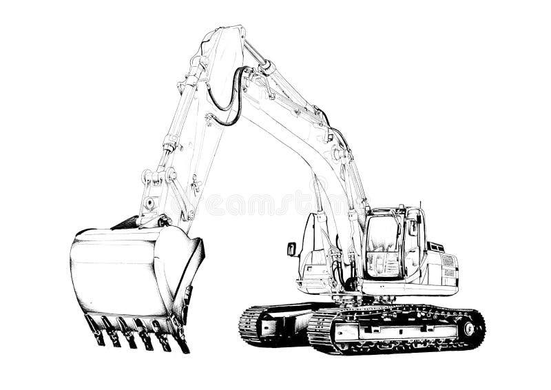Чертеж искусства экскаватора изолированный иллюстрацией стоковое фото rf