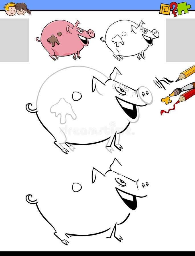 Чертеж и деятельность при расцветки с характером свиньи бесплатная иллюстрация