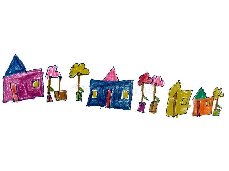 Чертеж и дом и цветок краски стоковые изображения rf