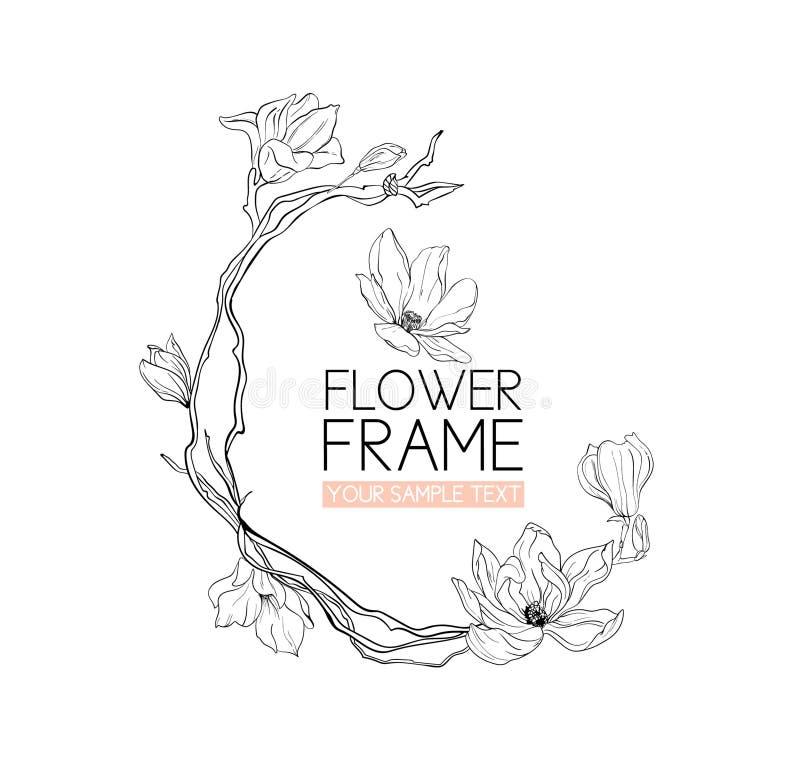 Чертеж и эскиз цветка магнолии венка с черно-белым лини-искусством иллюстрация вектора