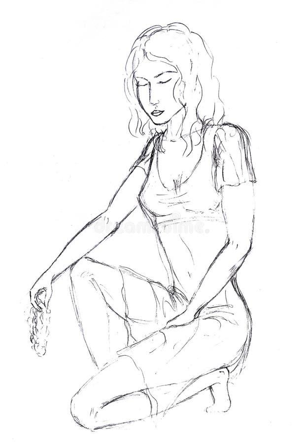 Чертеж карандаша, девушка сидел на одном колене со связкой винограда в ее руке и закрыл ее глаза бесплатная иллюстрация