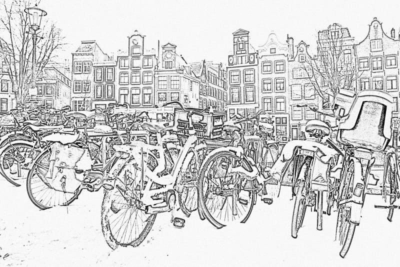 Чертеж карандаша от снежных велосипедов в Амстердаме Нидерландах стоковое изображение rf
