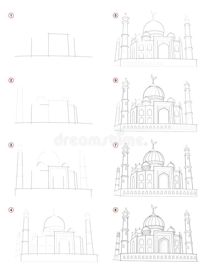 Чертеж карандаша творения постепенный Шоу страницы как выучите нарисовать фантастический азиатский восточный замок fairyland иллюстрация штока