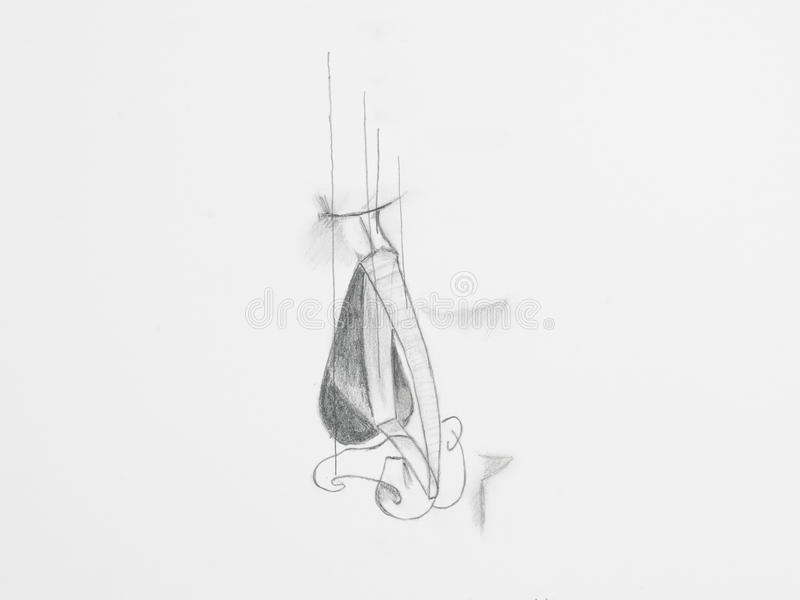 Чертеж карандаша носа стоковая фотография