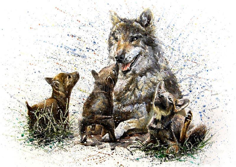 Чертеж картины акварели семьи волка иллюстрация вектора