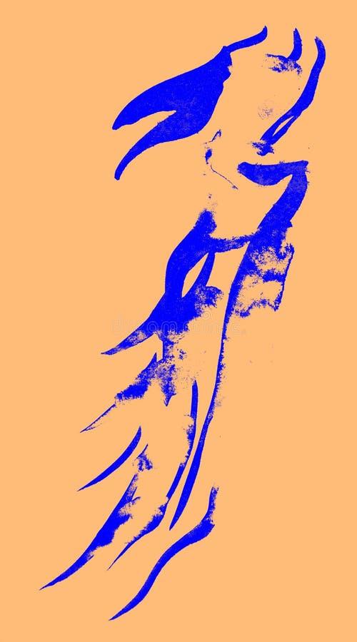 Чертеж, каллиграфия в голубом попугаи стоковые фотографии rf