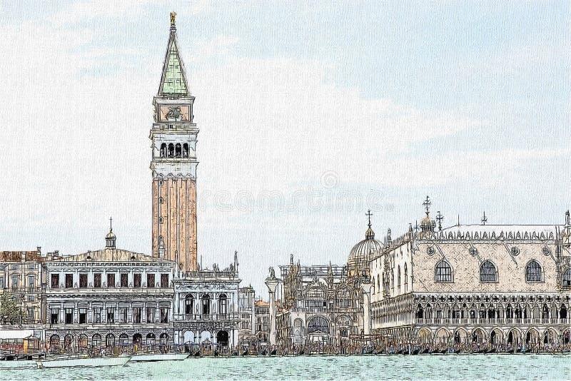 Чертеж квадрата Сан Marco, Венеция, Италия бесплатная иллюстрация
