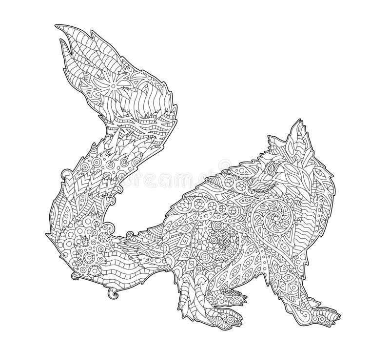 Чертеж книжка-раскраски с изолированным стилизованным лемуром иллюстрация штока