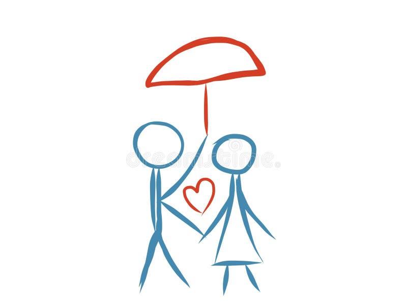 Чертеж конспекта логотипа семьи влюбленности художнический иллюстрация штока