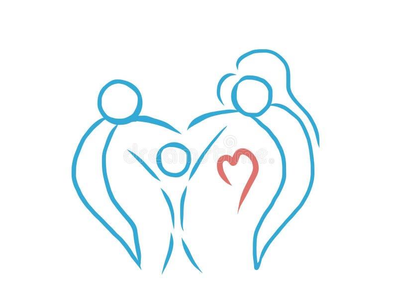 Чертеж конспекта логотипа семьи влюбленности художнический иллюстрация вектора
