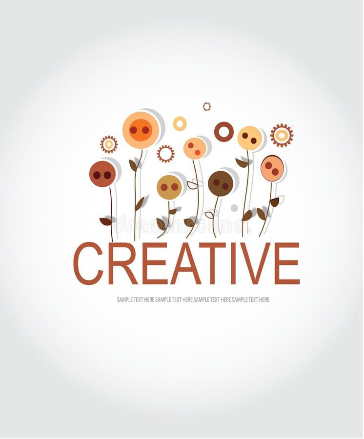 чертеж логотипа с абстрактными кнопками и, который 6-встали на сторону цветками иллюстрация штока