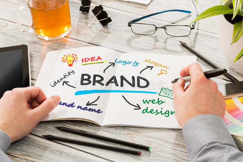 Чертеж маркетинга клеймя дизайна бренда стоковое фото