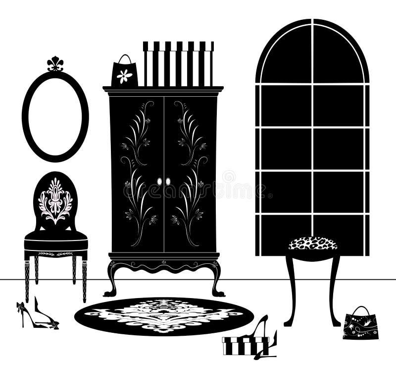 Чертеж мебели будуара черно-белый иллюстрация штока