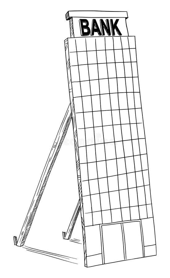 Чертеж мультфильма вектора администраривного администраривн офиса банка модель-макета поддельного иллюстрация штока