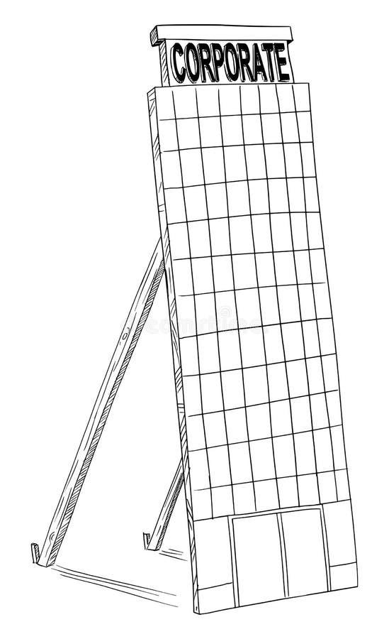 Чертеж мультфильма вектора офисного здания корпоративного бизнеса модель-макета поддельного бесплатная иллюстрация