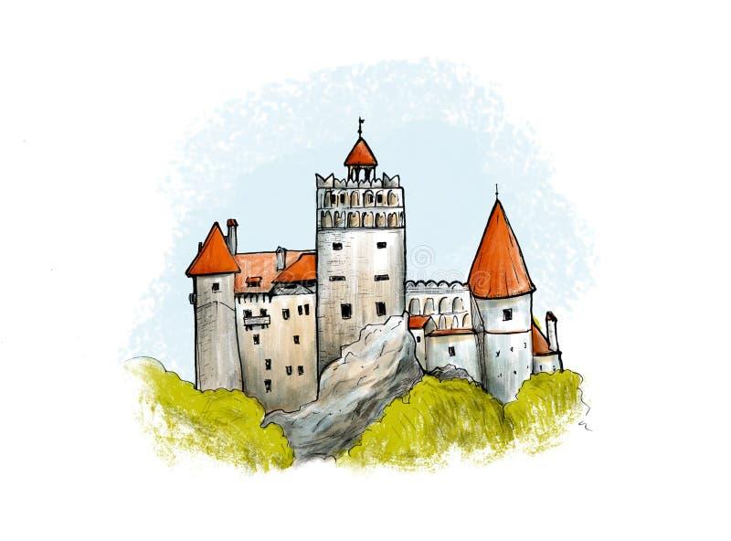 Чертеж отрубей покрашенный замком Вручите вычерченную иллюстрацию известной крепости в Румынии иллюстрация вектора