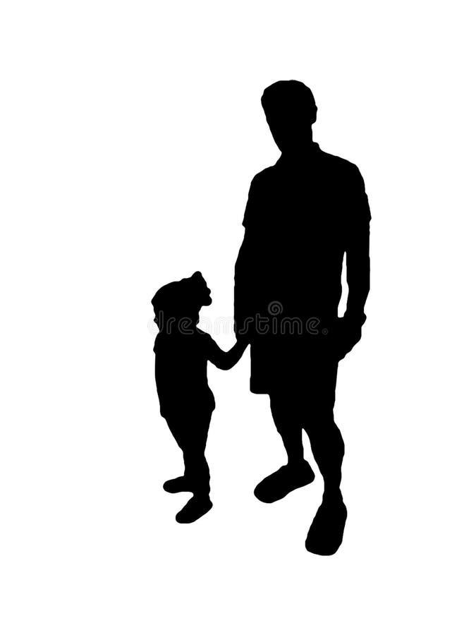 Чертеж отца и сына графическим изолированный силуэтом бесплатная иллюстрация
