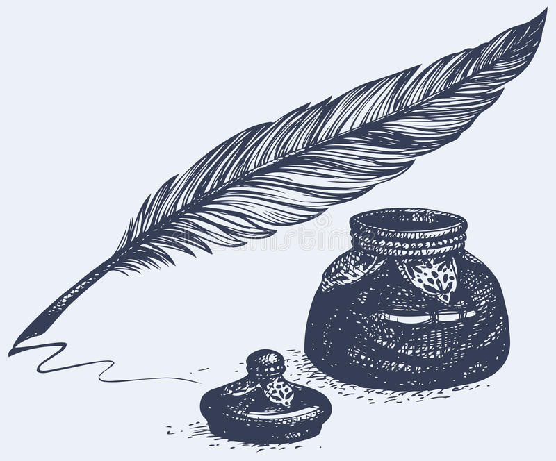 Чертеж от руки вектора старой ручки и чернильницы иллюстрация вектора