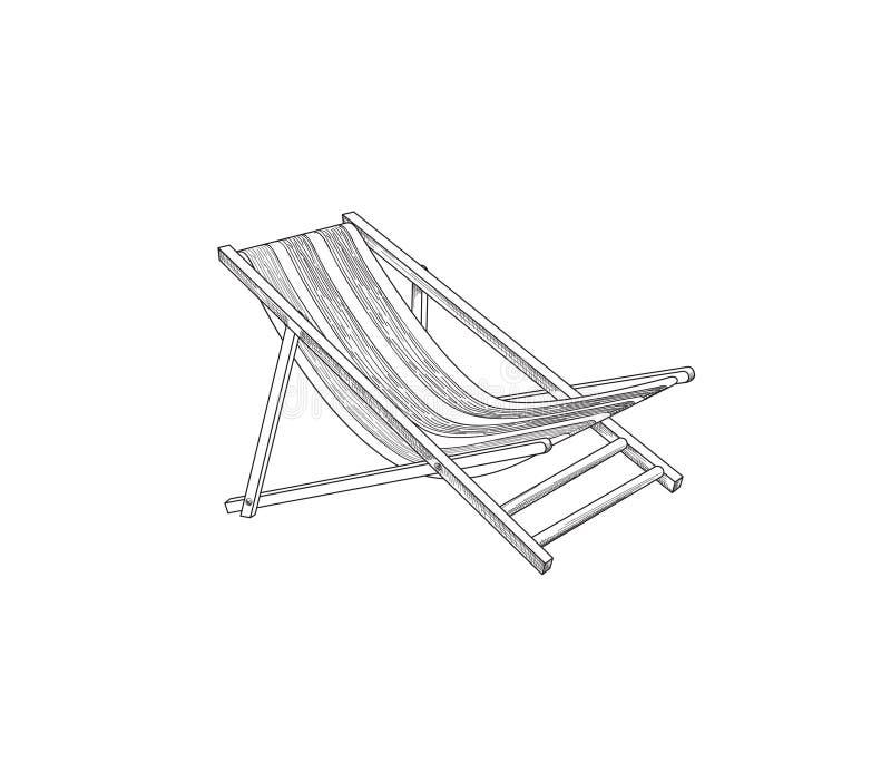 Чертеж плана Deckchair Эскиз шезлонга Символ пляжного комплекса летнего отпуска иллюстрация вектора