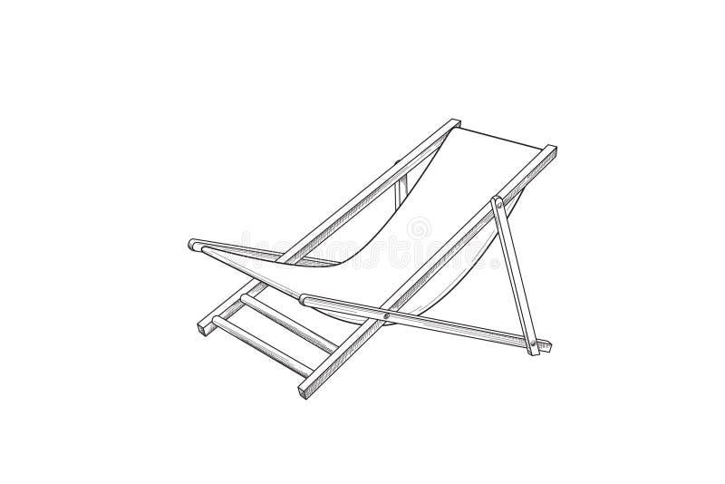 Чертеж плана Deckchair Эскиз шезлонга Символ пляжного комплекса летнего отпуска иллюстрация штока