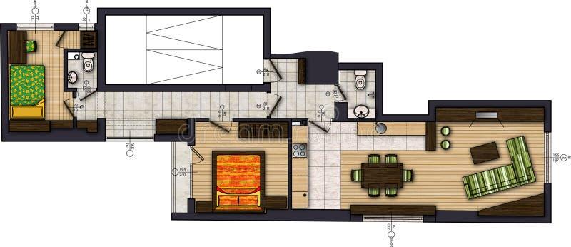 чертеж покрашенный квартирой иллюстрация вектора