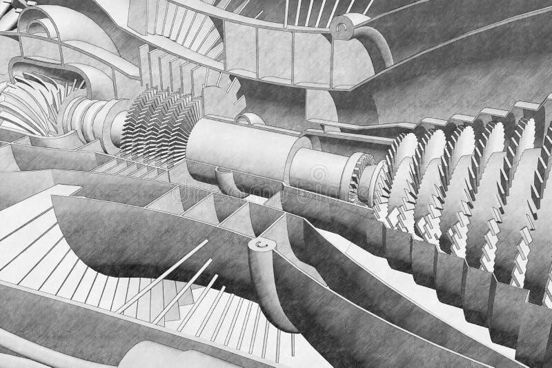 Чертеж раздела реактивного двигателя иллюстрация штока