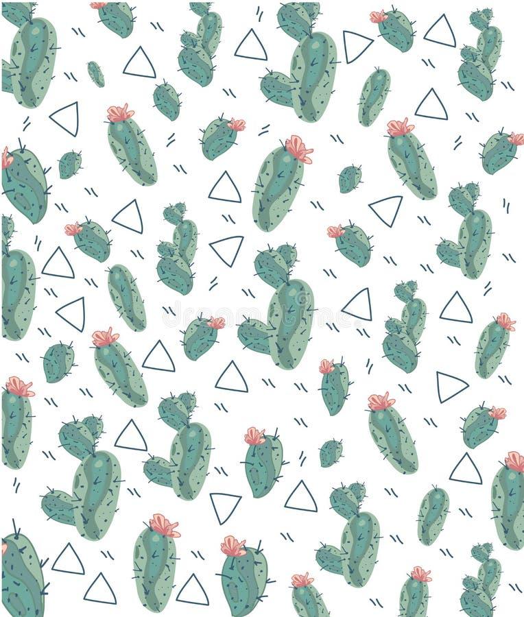 Чертеж рамки с кактусами и цветками иллюстрация штока