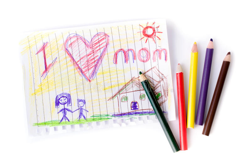 Чертеж ребенка ее матери на День матери стоковое фото rf
