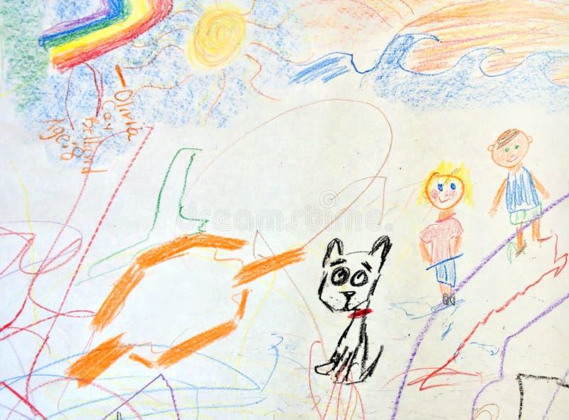 Чертеж ребенка; дети и их собака стоковое изображение rf