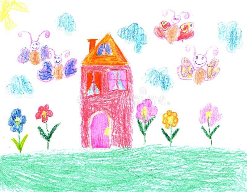 Чертеж ребенка дома иллюстрация вектора
