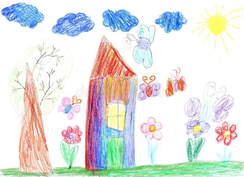 Чертеж ребенка дома иллюстрация штока