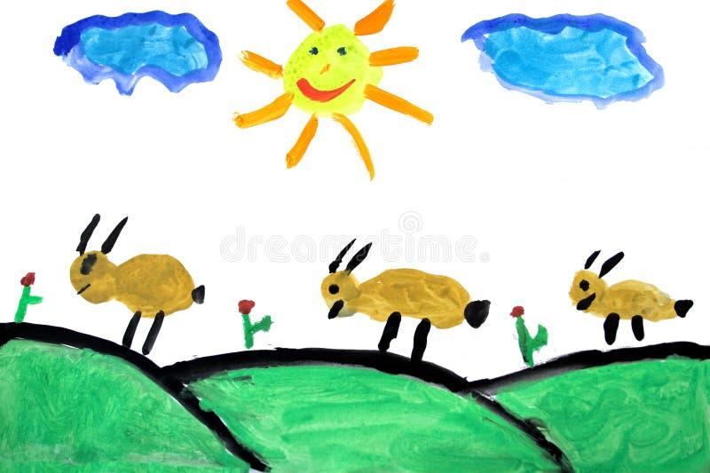 чертеж ребенка реальный иллюстрация вектора